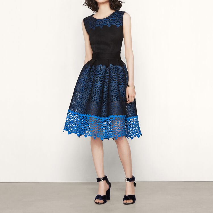 Kleid aus Strick mit Wabenmotiv : -70% colore Blu