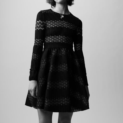 Basket knitted dress : Vestiti colore NERO