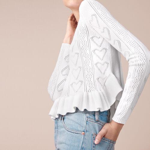 Pullover in maglia jacquard con volant : Tops colore Ecru