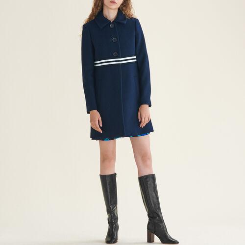Cappotto dritto in lana e cachemire : Cappotti colore Blu Marino