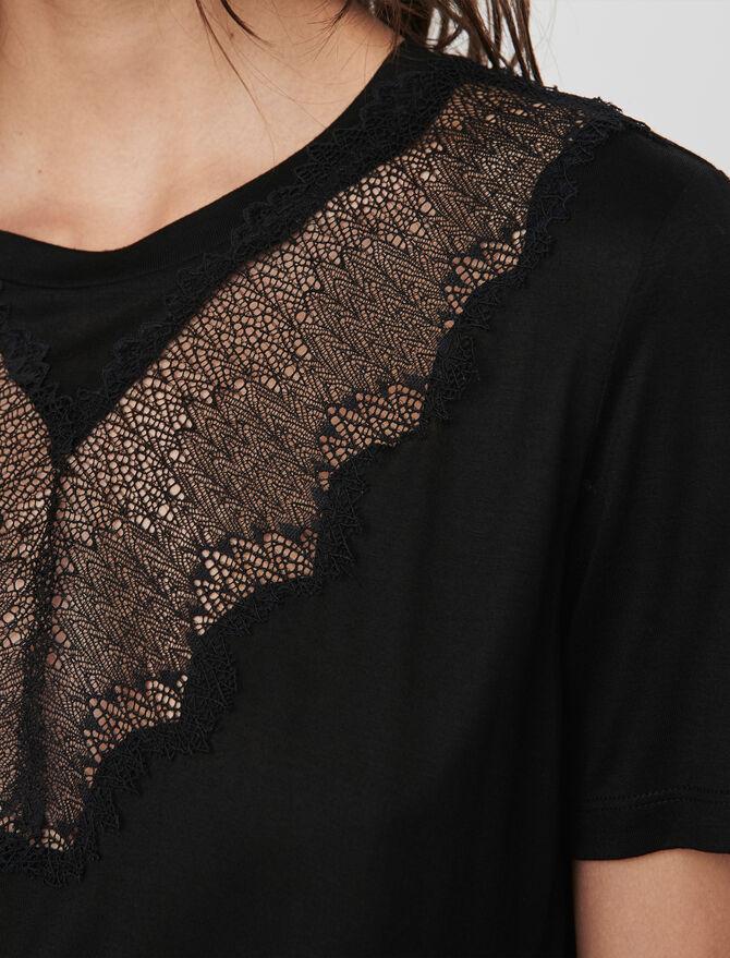 Tee-shirt con applicazioni in pizzo - Midseason-Sales_UK_30% - MAJE
