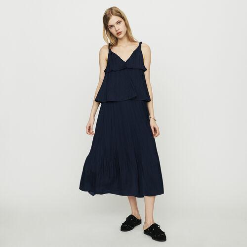 Vestito lungo plissettato in tessuto : Vestiti colore Blu Marino