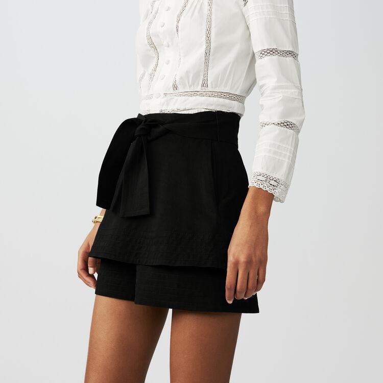 Panta gonna in misto lino : Gonne e shorts colore Nero