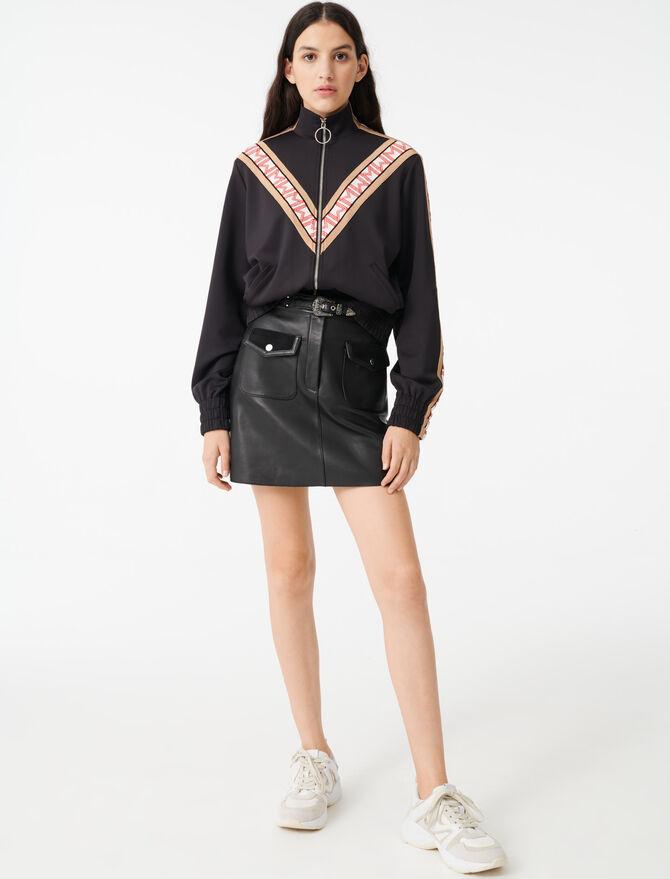 Felpa con zip e fasce a contrasto - Pullover e cardigan - MAJE