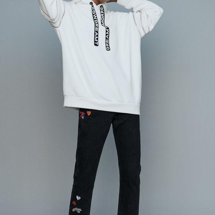 Felpa con cappuccio con multi-zip : Sweatshirts colore Bianco