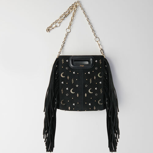 Mini studded suede M bag with chain : Campagna FW19 colore Nero