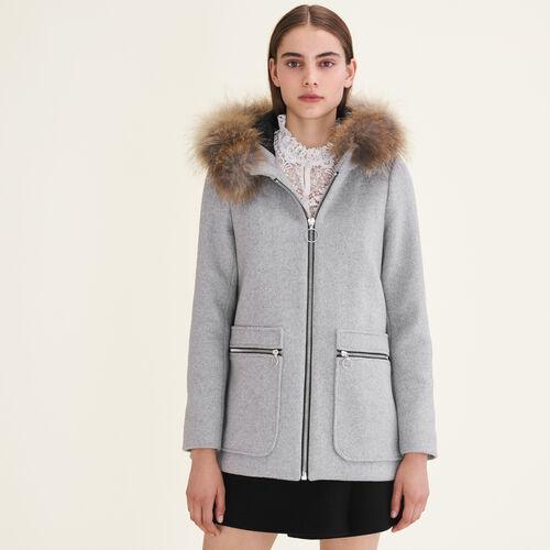 Cappotto con zip fantasia : Cappotti colore Grigio