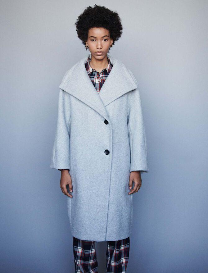 Cappotto lungo con grande collo in lana -  - MAJE