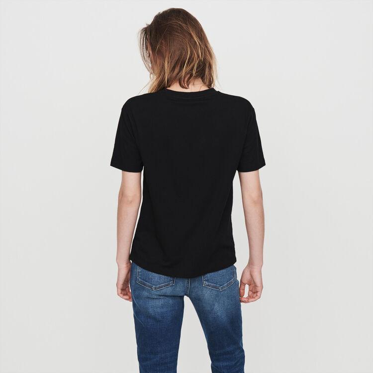 Tee-shirt serigrafata con strass : T-Shirts colore Nero