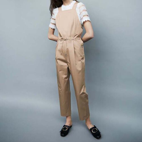 Tuta pantalone con vita elasticizzata : Pantaloni colore Beige