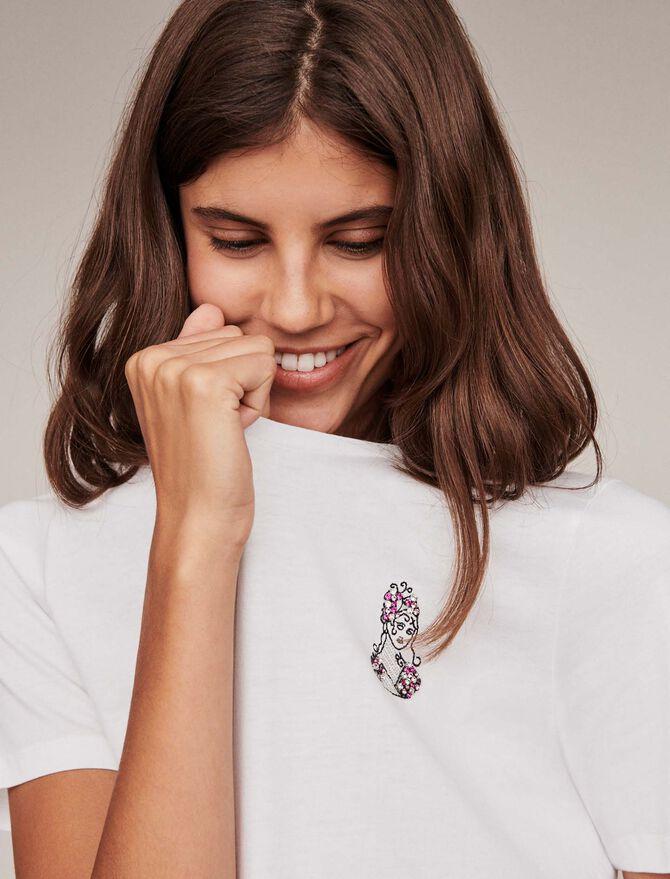 Tee-shirt in cotone con ricami e strass - T-Shirts - MAJE