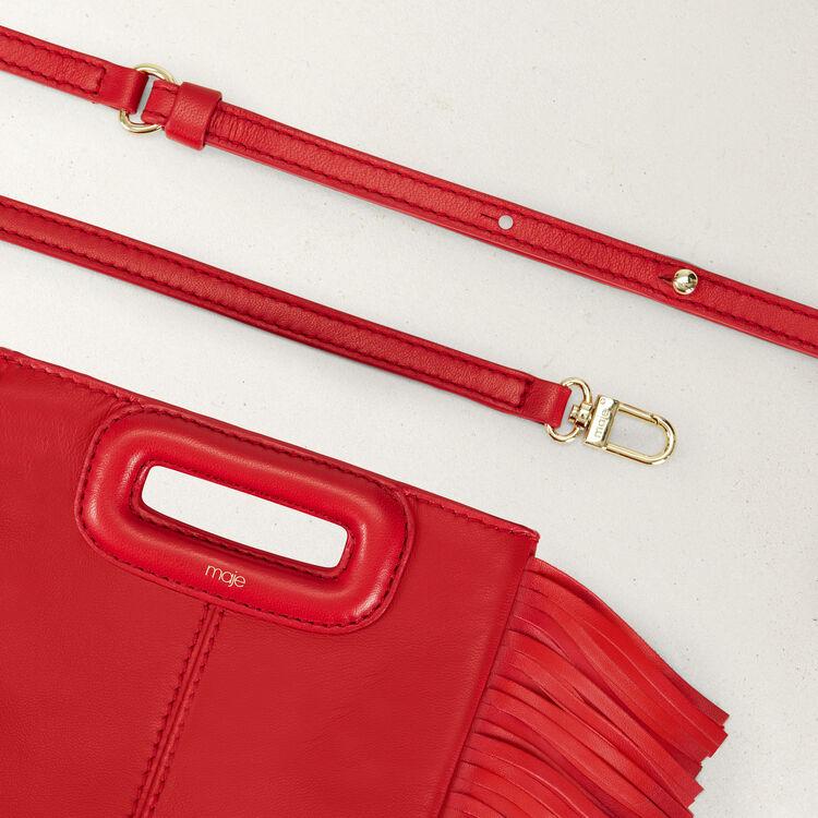Mini borsa M con frange in pelle : Borse M colore RED