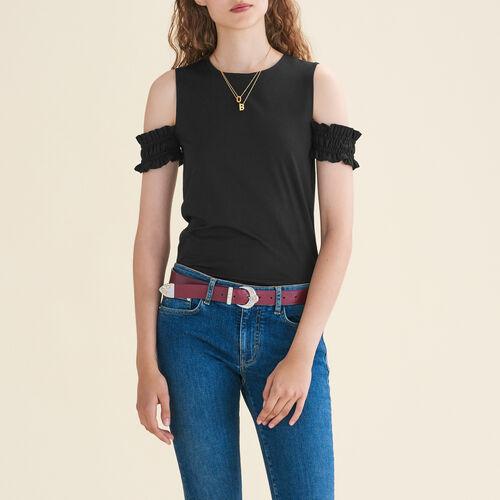 Top senza maniche con spalle scoperte : T-shirts colore Nero