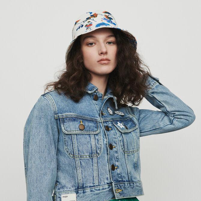 outlet store 91810 03708 Giacca corta in jeans con applcazioni
