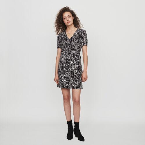 Vestito arricciato in jacquard stampato : Collezione Inverno colore Nero