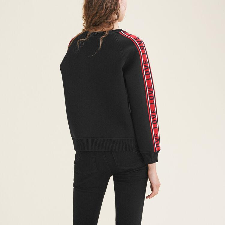 Felpa in neoprene con strisce : Sweatshirts colore Nero