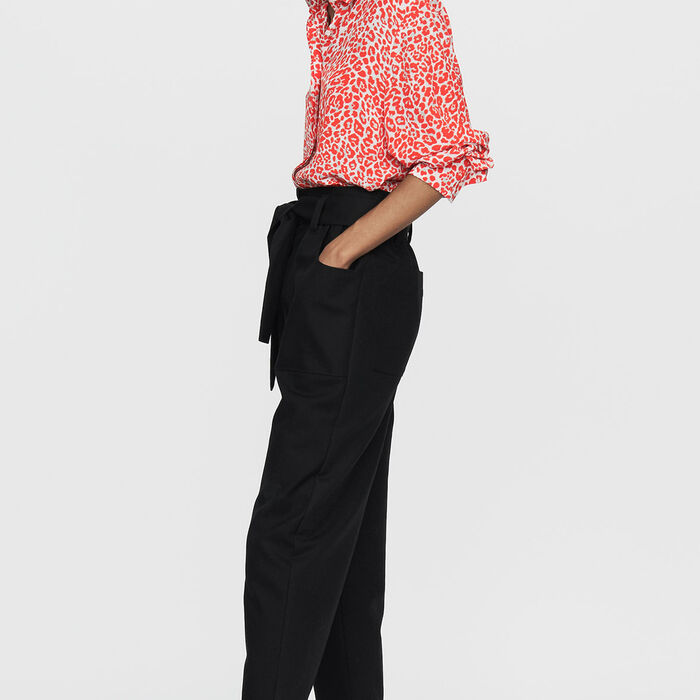 Pantalone largo a vita alta : Pantaloni colore Nero