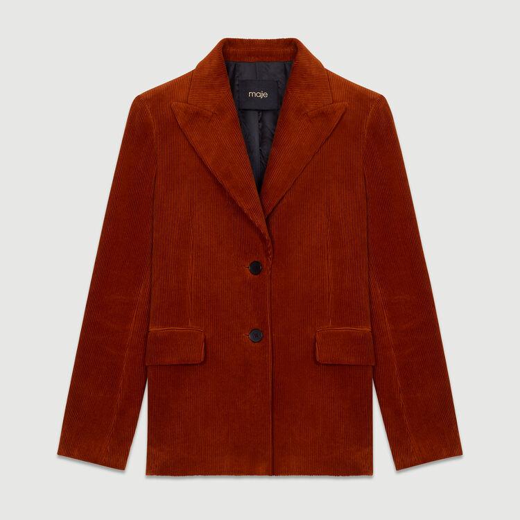 Giacca tailleur in velluto a coste : Giacche colore Caramello