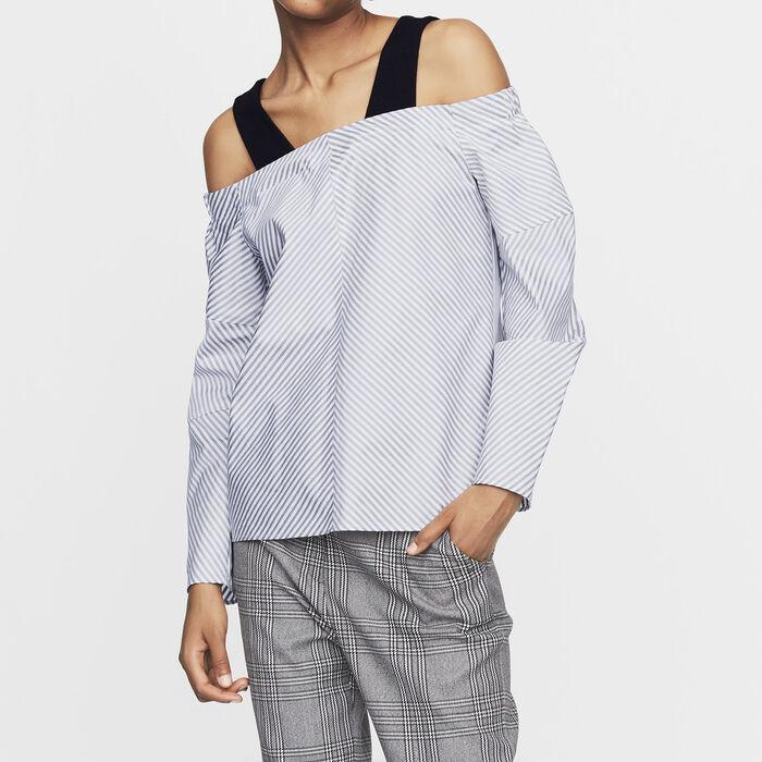 Top con spalle nude in cotone rigato : Tops colore A Righe