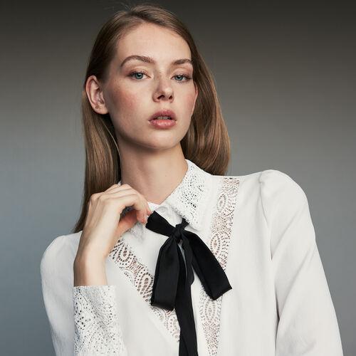 Camicia lavalliere con pizzo : Camicie colore Bianco