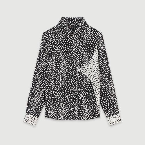 Camicia in jacquard stampato con patch : Collezione Inverno colore Nero
