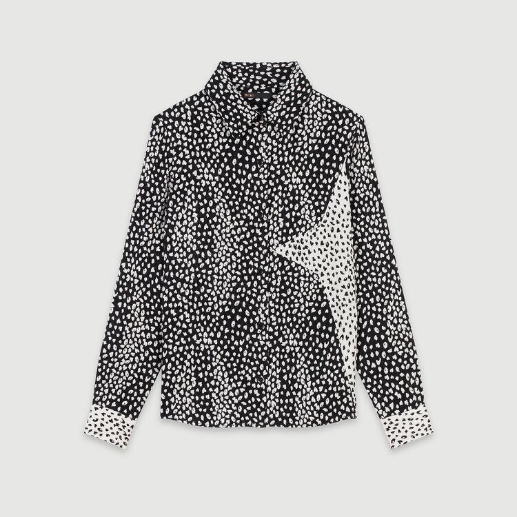 Camicia in jacquard stampato con patch : Tops e Camicie colore Nero