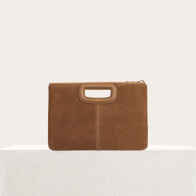 Pochette M Duo in suede e borchie : M Duo colore Cammello