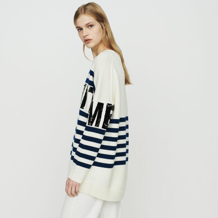 Pull a righe in misto lana : Pullover e cardigan colore ECRU