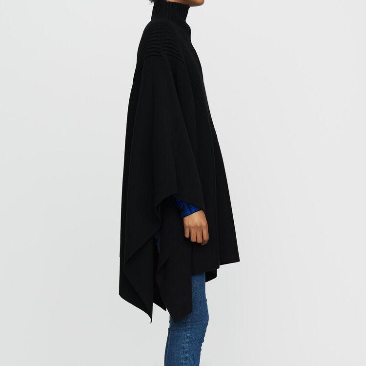 Poncho in maglia con collo camionista : Maglieria colore Nero