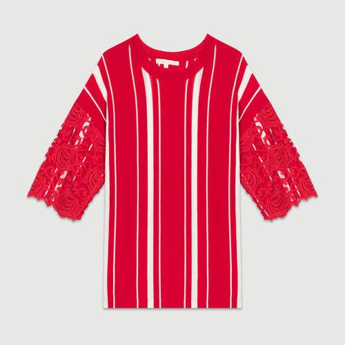 Tee-shirt a righe con maniche in pizzo : Maglieria colore ROUGE