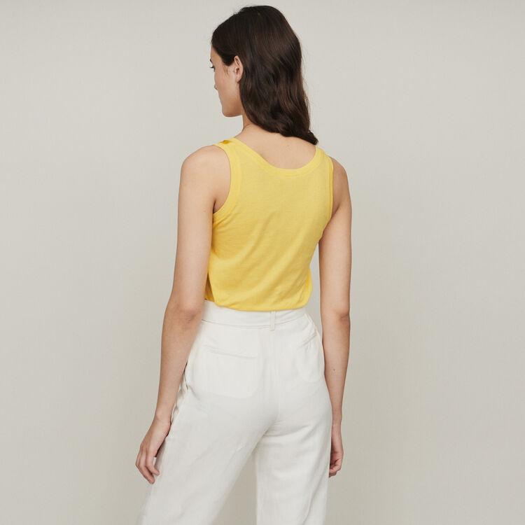Canottiera loose in seta : T-Shirts colore Giallo