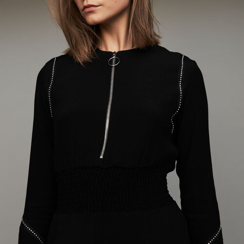 Long sleeve, studded dress : Vestiti colore Nero