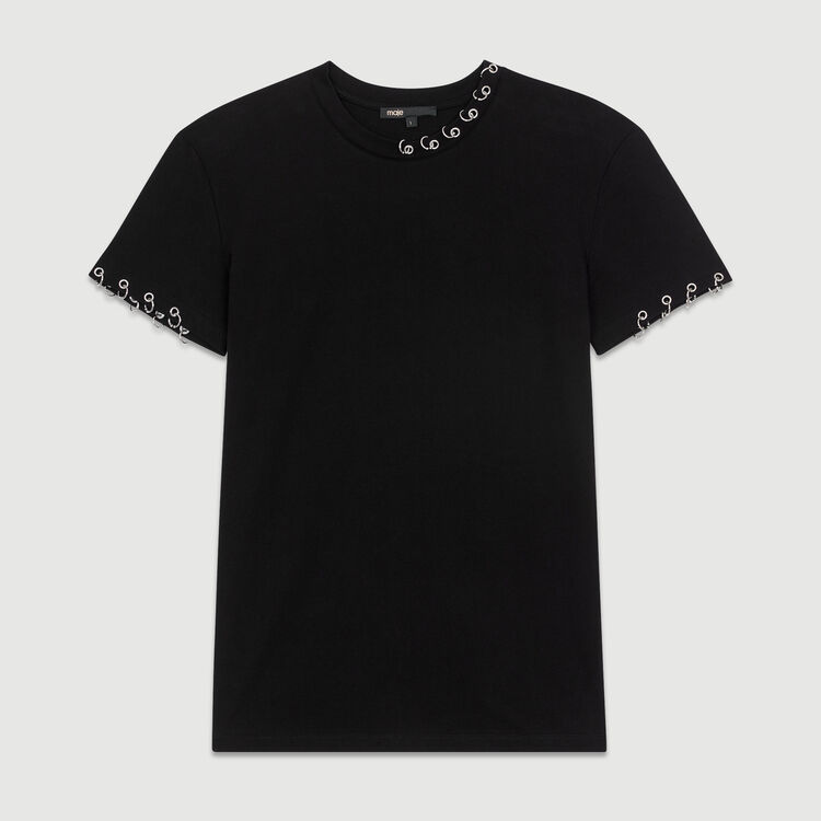 Tee-shirt in cotone con occhielli : T-Shirts colore Nero