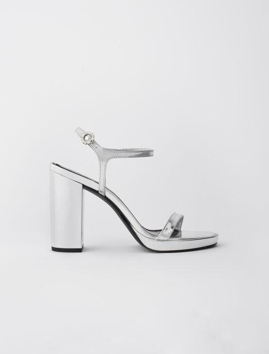 Sandali con tacco in pelle metallizzata : -40% colore Argento