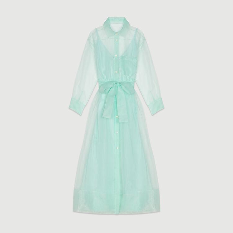 Scamiciato lungo stile organza : Vestiti colore Verde Acqua