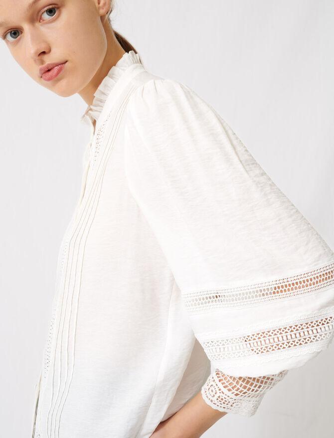 Camicia romantica in cotone e pizzo -  - MAJE