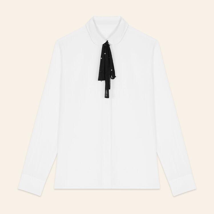 Camicetta in seta con cravatta in tulle : Tops colore Bianco