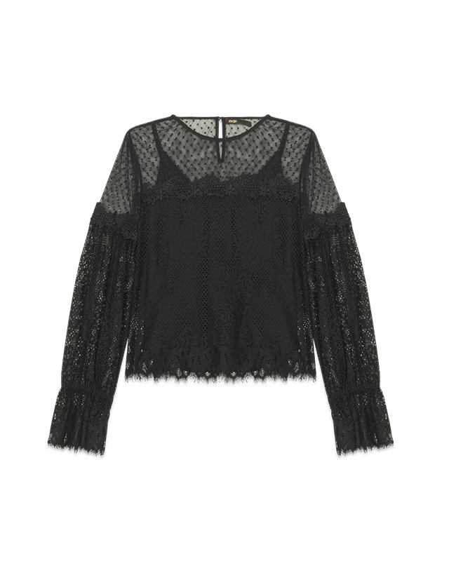 Top in pizzo e plumetis - Tops - MAJE