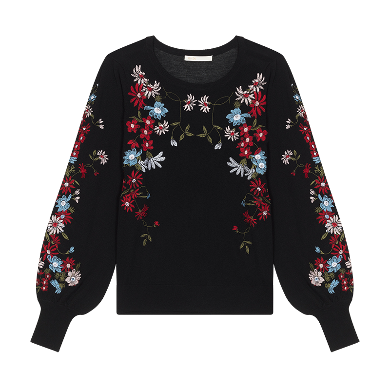 Jumper with flowers embroideries - Maglieria - MAJE