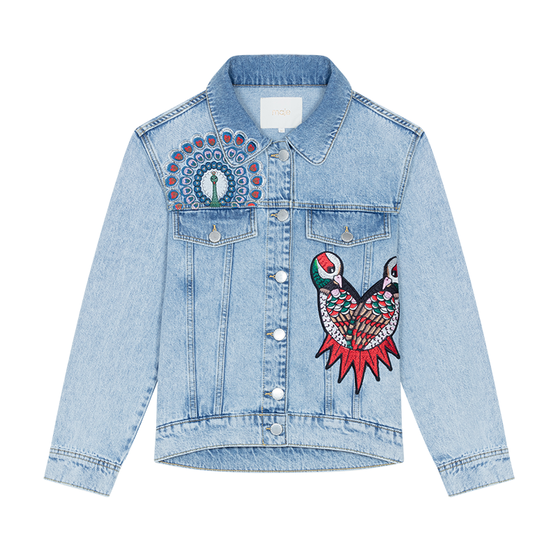 Jacket Denim with embroidery  - Giacche - MAJE
